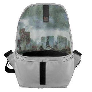 Water and skyline messenger bag