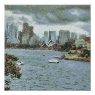 Water and skyline poster