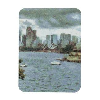 Water and skyline rectangular photo magnet