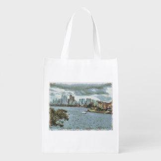 Water and skyline reusable grocery bag