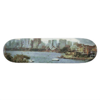 Water and skyline skateboard deck