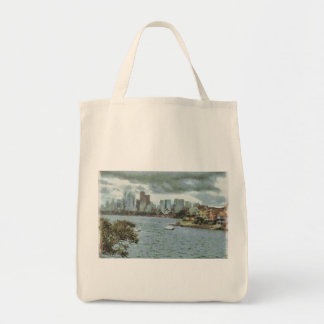 Water and skyline tote bag