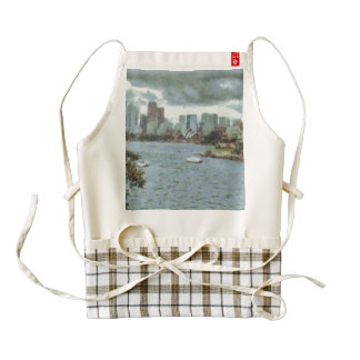 Water and skyline zazzle HEART apron