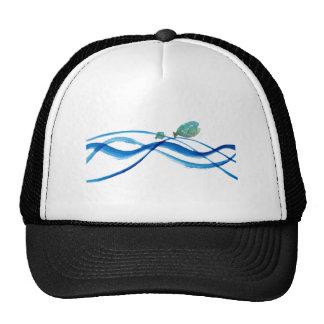 water art: father fish, kid fish trucker hat