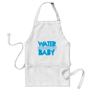 Water Baby cute with ocean waves Aprons