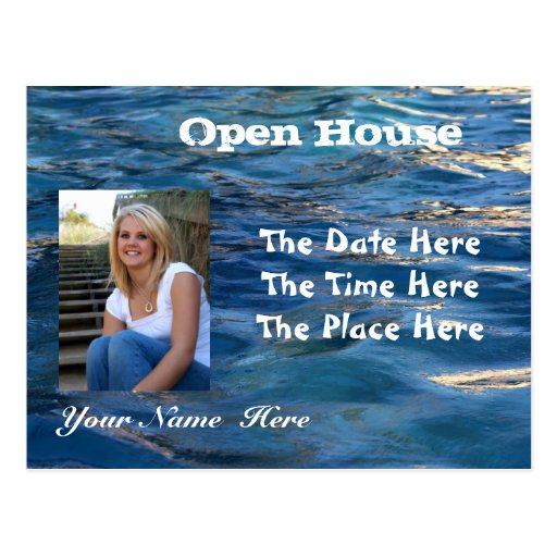 Water Background Open House Postcard