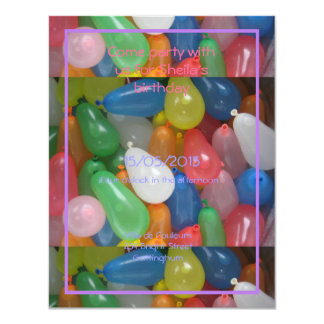 water baloon birthday party card