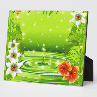 Water Bamboo and Tropical Flowers Plaque