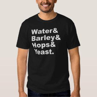 Water & Barley & Hops & Yeast | Beer Ingredients Tee Shirt