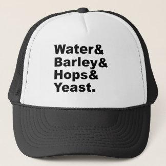 Water & Barley & Hops & Yeast | Beer Ingredients Trucker Hat