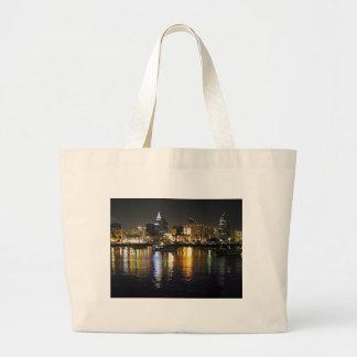 Water Bay City Lights Reflections Ripples Nighttim Bags