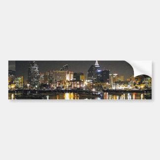 Water bay city lights reflections ripples nighttim bumper sticker