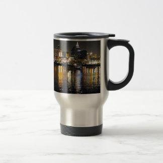 Water bay city lights reflections ripples nighttim travel mug