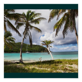 Water Beach Tropical Green Nature Name Personalize Poster