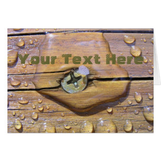 Water Beads On Stained Wood Photograph Card