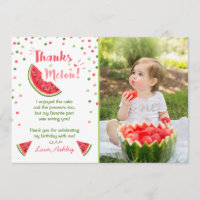 Water Birthday Party Melon Thank You Card Summer