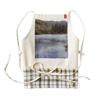 Water body surrounded by greenery zazzle HEART apron
