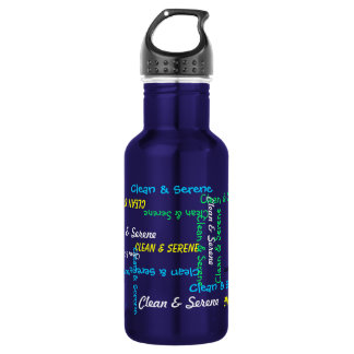 Water Bottle, Clean and Serene, Blue Stainless Steel Water Bottle