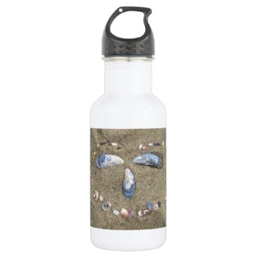 Beach Themed Water bottle face made in the sand with sea shells