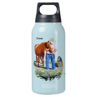 Water Bottle, Friends, Cowboy with horse and dog Insulated Water Bottle