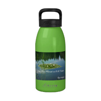 Water Bottle Green with white flowers and lake
