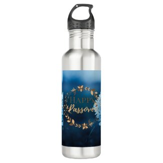Water Bottle Happy Passover Blue Brown Wreath Flor