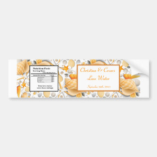 Water Bottle Label Assorted Seashells Orange Bumper Sticker