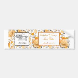 Water Bottle Label Assorted Seashells Orange Bumper Sticker