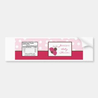 Water Bottle Label Berry Garden Pink Lady Bug Bumper Sticker