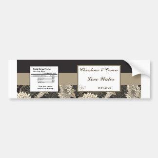 Water Bottle Label Black Cream Daisies/Carnation L Bumper Sticker