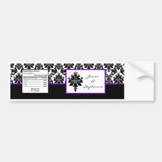 Water Bottle Label Black Purple Damask Lace Prin Car Bumper Sticker
