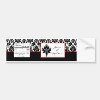 Water Bottle Label Black Red Damask Lace Print Bumper Sticker