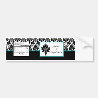 Water Bottle Label Black Teal Damask Lace Print Car Bumper Sticker