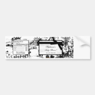 Water Bottle Label Black Toile Fabric Print Patter Bumper Sticker