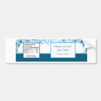 Water Bottle Label  Blue Tree / Snowflakes