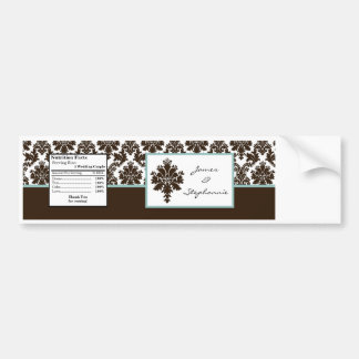 Water Bottle Label Brown Damask Lace Print