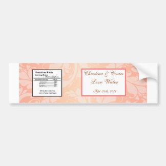Water Bottle Label Brown Rose on Pink Floral Flowe Bumper Sticker