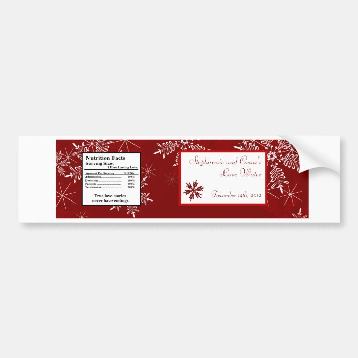 Water Bottle Label Christmas Red Snowflakes Bumper Sticker