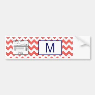 Water Bottle Label Coral Navy Blue Chevron Name Bumper Sticker