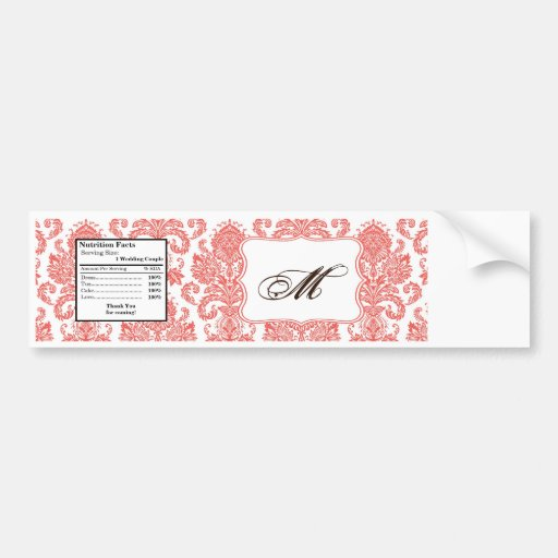 Water Bottle Label Coral White Damask Lace Print Bumper Sticker