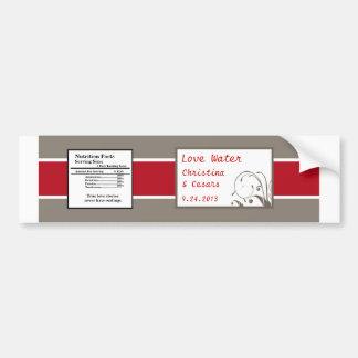 Water Bottle Label Crimson Red Gray Bg White Swirl