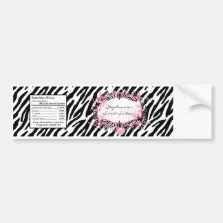 Water Bottle Label Girly Butterfly Zebra Print Bumper Sticker