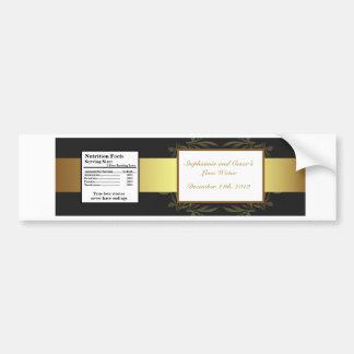Water Bottle Label Gold and Black Damask