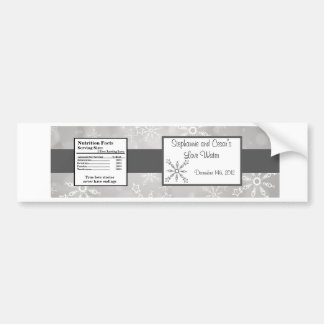 Water Bottle Label Gray Snowflakes