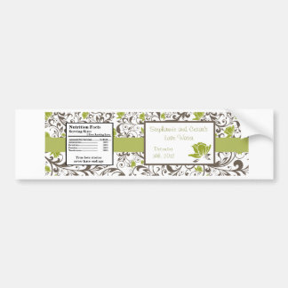 Water Bottle Label Green Floral with Branch
