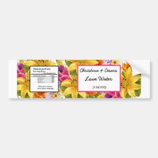 Water Bottle Label Hawaiian Exotic Flowers Colorfu Bumper Stickers