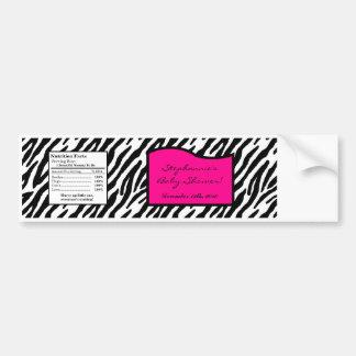 Water Bottle Label Hot Pink Zebra Print Bumper Sticker
