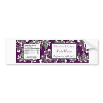 Water Bottle Label Peacock/Flower Branch Purple