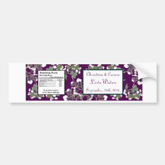 Water Bottle Label Peacock/Flower Branch Purple Bumper Stickers