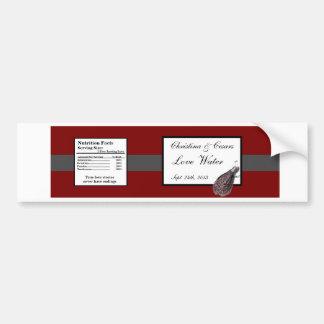 Water Bottle Label Peacock Red Black White